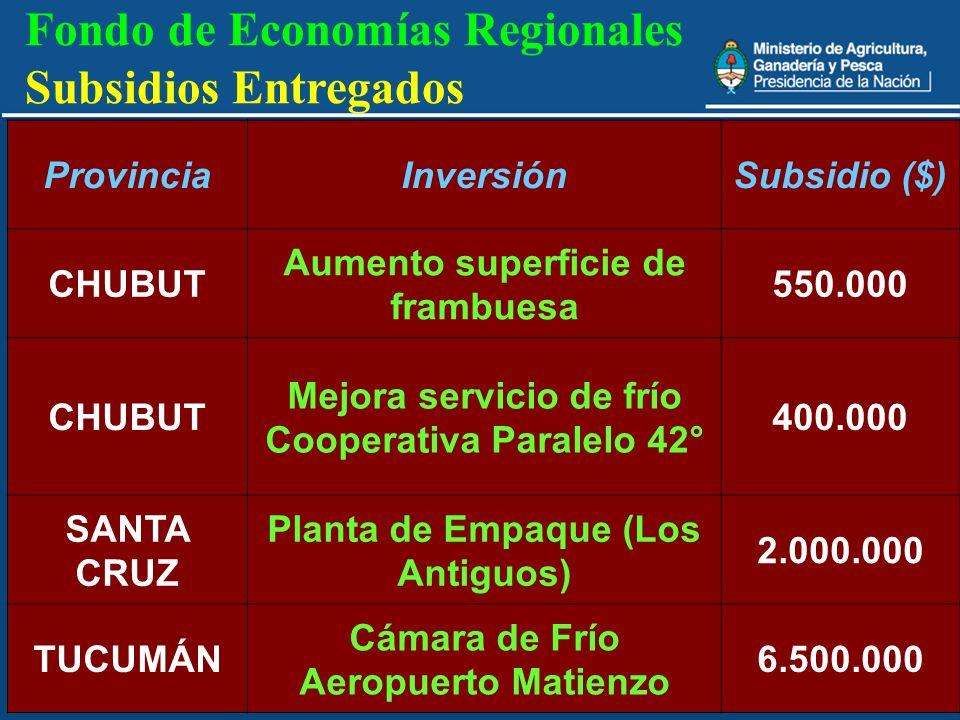 30 Fondo de Economías Regionales Subsidios Entregados ProvinciaInversiónSubsidio ($) CHUBUT Aumento superficie de frambuesa 550.000 CHUBUT Mejora serv