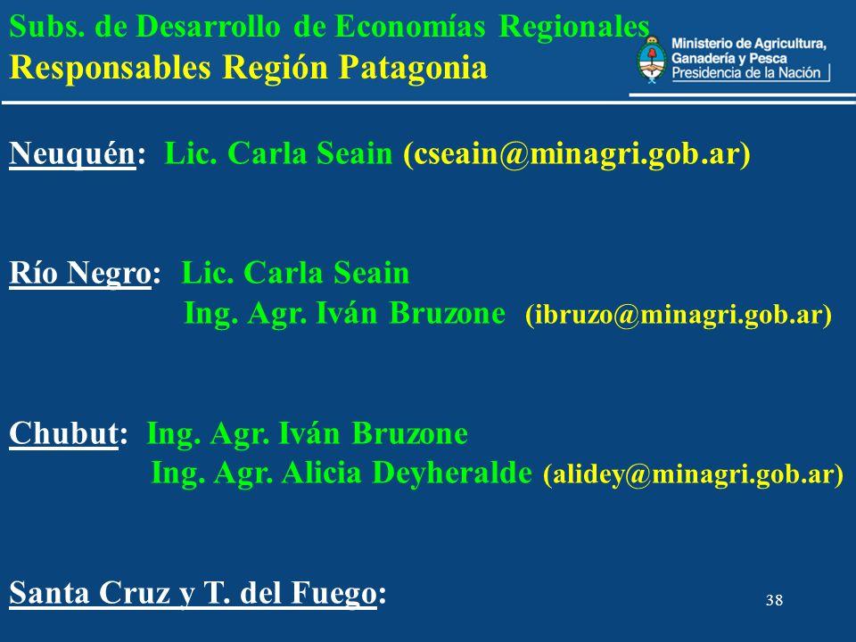 38 Subs. de Desarrollo de Economías Regionales Responsables Región Patagonia Neuquén: Lic. Carla Seain (cseain@minagri.gob.ar) Río Negro: Lic. Carla S