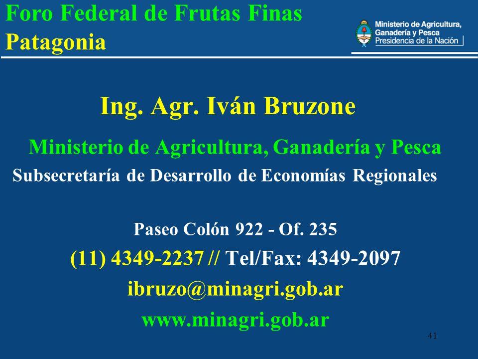 41 Ing. Agr. Iván Bruzone Ministerio de Agricultura, Ganadería y Pesca Subsecretaría de Desarrollo de Economías Regionales Paseo Colón 922 - Of. 235 (