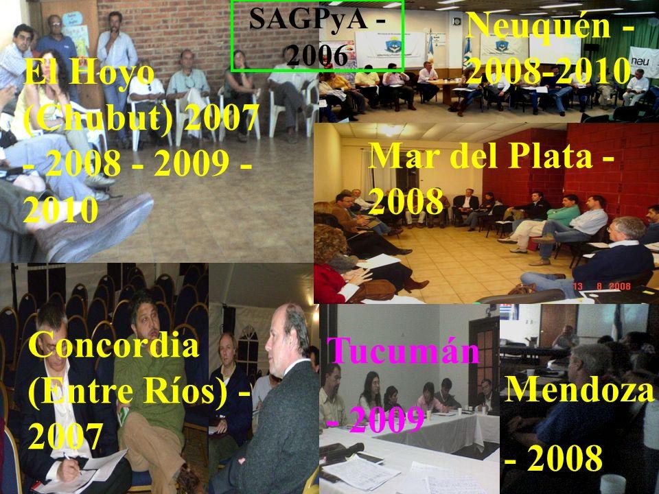 5 Concordia (Entre Ríos) - 2007 El Hoyo (Chubut) 2007 - 2008 - 2009 - 2010 Neuquén - 2008-2010 SAGPyA - 2006 Mar del Plata - 2008 Mendoza - 2008 Tucum