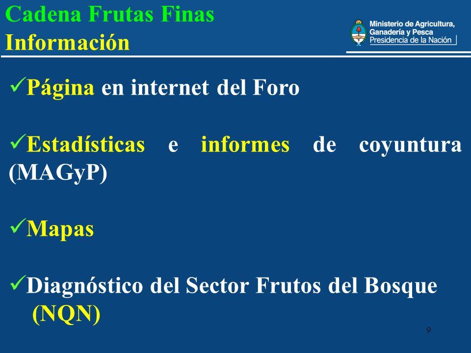 9 Cadena Frutas Finas Información Página en internet del Foro Estadísticas e informes de coyuntura (MAGyP) Mapas Diagnóstico del Sector Frutos del Bos