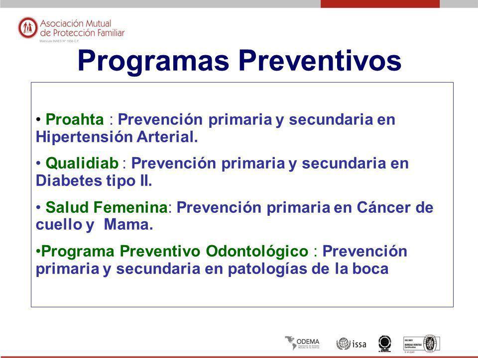 Programas Preventivos Proahta : Prevención primaria y secundaria en Hipertensión Arterial. Qualidiab : Prevención primaria y secundaria en Diabetes ti