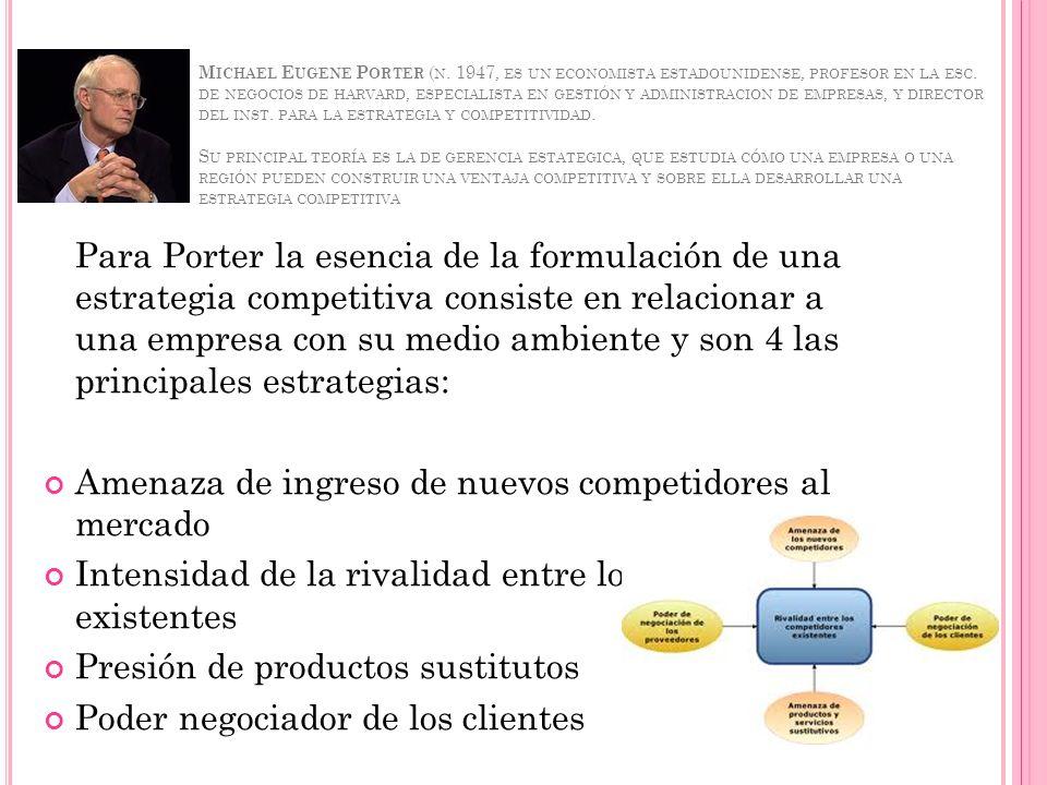 M ICHAEL E UGENE P ORTER ( N. 1947, ES UN ECONOMISTA ESTADOUNIDENSE, PROFESOR EN LA ESC. DE NEGOCIOS DE HARVARD, ESPECIALISTA EN GESTIÓN Y ADMINISTRAC