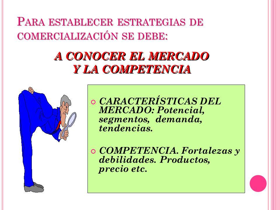 P ARA ESTABLECER ESTRATEGIAS DE COMERCIALIZACIÓN SE DEBE : A CONOCER EL MERCADO Y LA COMPETENCIA A CONOCER EL MERCADO Y LA COMPETENCIA CARACTERÍSTICAS