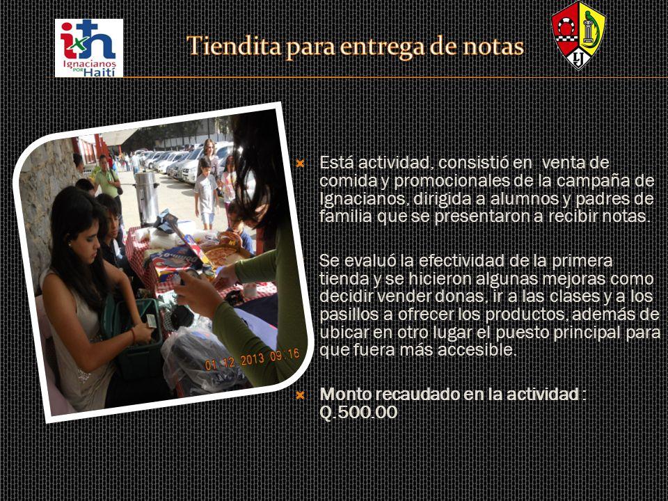Está actividad, consistió en venta de comida y promocionales de la campaña de Ignacianos, dirigida a alumnos y padres de familia que se presentaron a