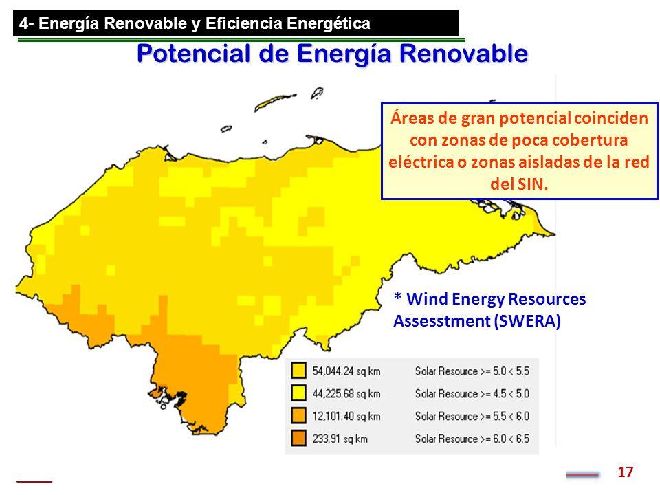 Comisión Nacional de Energía 17 4- Energía Renovable y Eficiencia Energética Potencial de Energía Renovable Áreas de gran potencial coinciden con zona