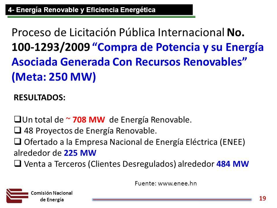 Comisión Nacional de Energía 19 Proceso de Licitación Pública Internacional No. 100-1293/2009 Compra de Potencia y su Energía Asociada Generada Con Re