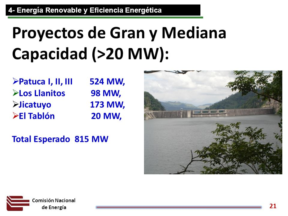 Comisión Nacional de Energía 21 Proyectos de Gran y Mediana Capacidad (>20 MW): Patuca I, II, III 524 MW, Los Llanitos 98 MW, Jicatuyo 173 MW, El Tabl