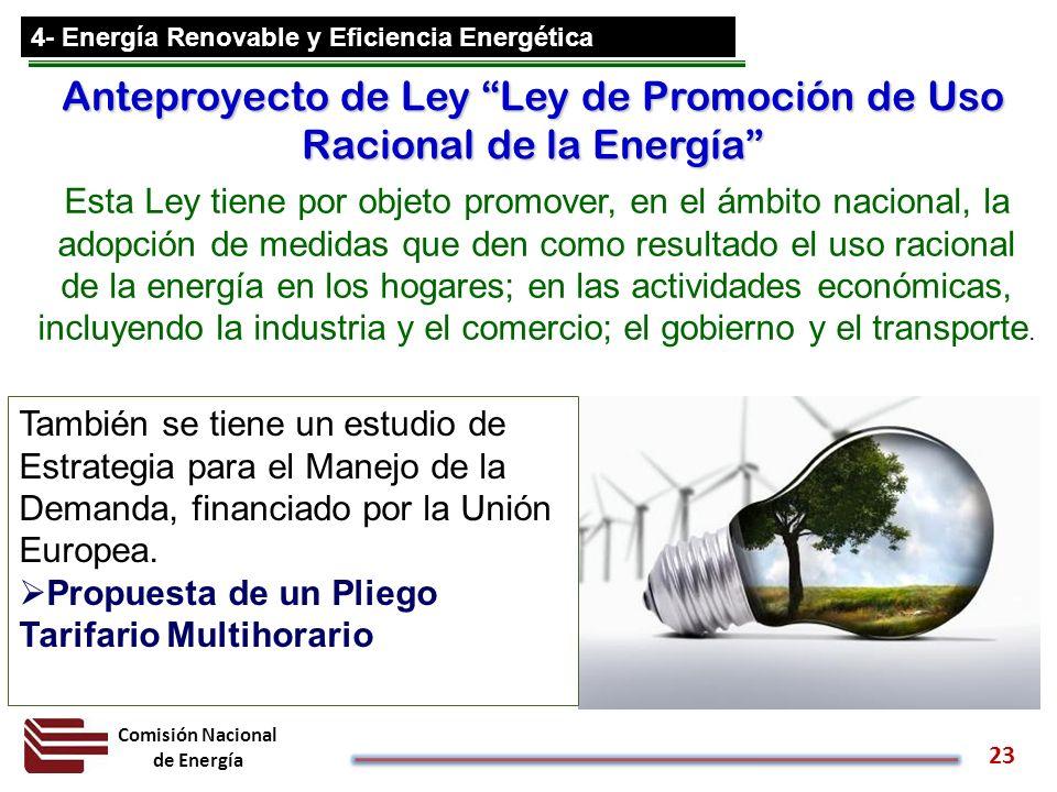 Comisión Nacional de Energía 23 4- Energía Renovable y Eficiencia Energética Anteproyecto de Ley Ley de Promoción de Uso Racional de la Energía Esta L