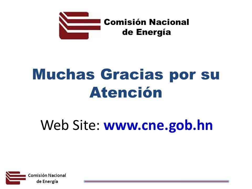 Comisión Nacional de Energía Muchas Gracias por su Atención Web Site: www.cne.gob.hn Comisión Nacional de Energía