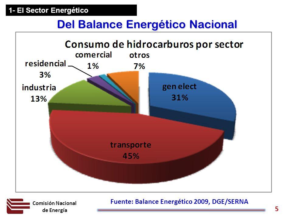 Comisión Nacional de Energía 5 1- El Sector Energético Del Balance Energético Nacional Fuente: Balance Energético 2009, DGE/SERNA