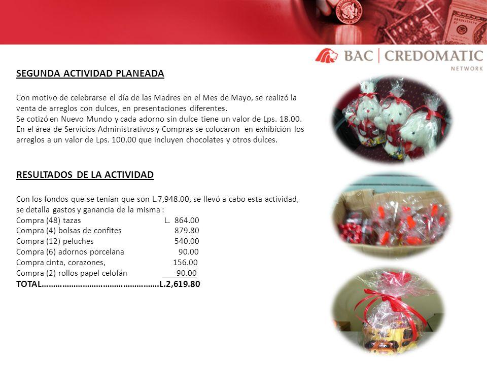 SEGUNDA ACTIVIDAD PLANEADA Con motivo de celebrarse el día de las Madres en el Mes de Mayo, se realizó la venta de arreglos con dulces, en presentacio