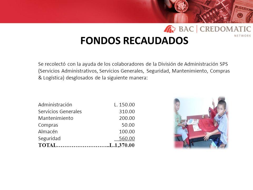 FONDOS RECAUDADOS Se recolectó con la ayuda de los colaboradores de la División de Administración SPS (Servicios Administrativos, Servicios Generales,