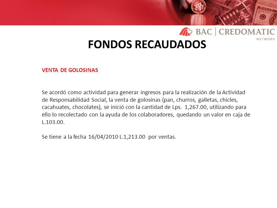 FONDOS RECAUDADOS VENTA DE GOLOSINAS Se acordó como actividad para generar ingresos para la realización de la Actividad de Responsabilidad Social, la