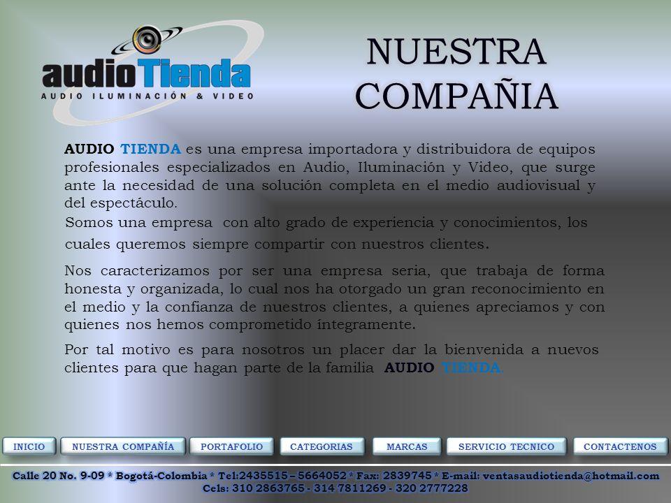 AUDIO TIENDA es una empresa importadora y distribuidora de equipos profesionales especializados en Audio, Iluminación y Video, que surge ante la necesidad de una solución completa en el medio audiovisual y del espectáculo.