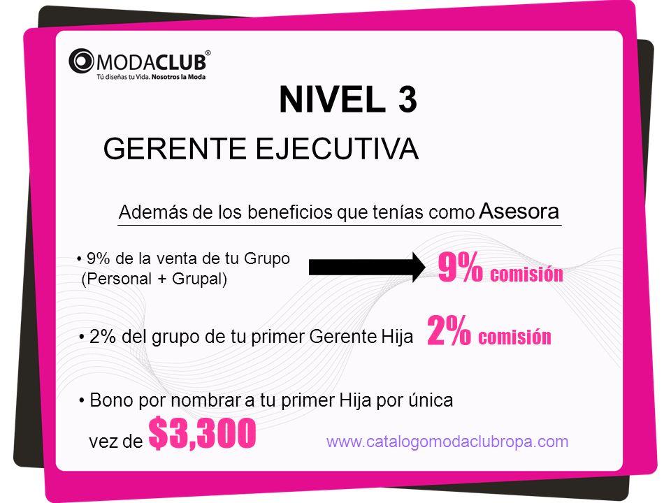 NIVEL 3 GERENTE EJECUTIVA Además de los beneficios que tenías como Asesora 9% comisión 9% de la venta de tu Grupo (Personal + Grupal) 2% del grupo de