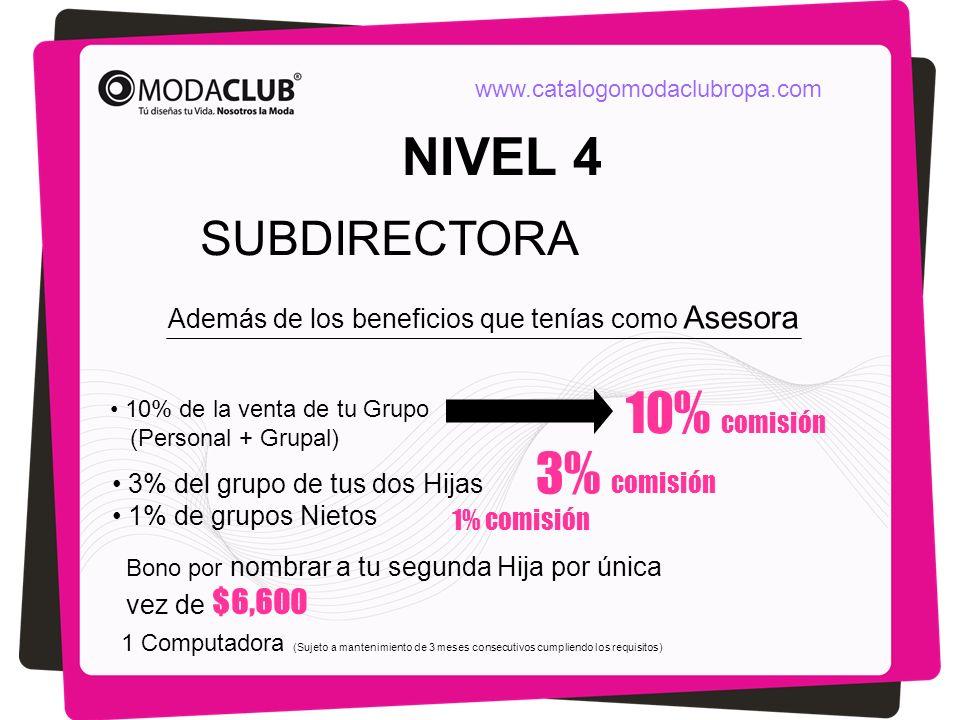 NIVEL 4 SUBDIRECTORA Además de los beneficios que tenías como Asesora 10% comisión 10% de la venta de tu Grupo (Personal + Grupal) 3% del grupo de tus