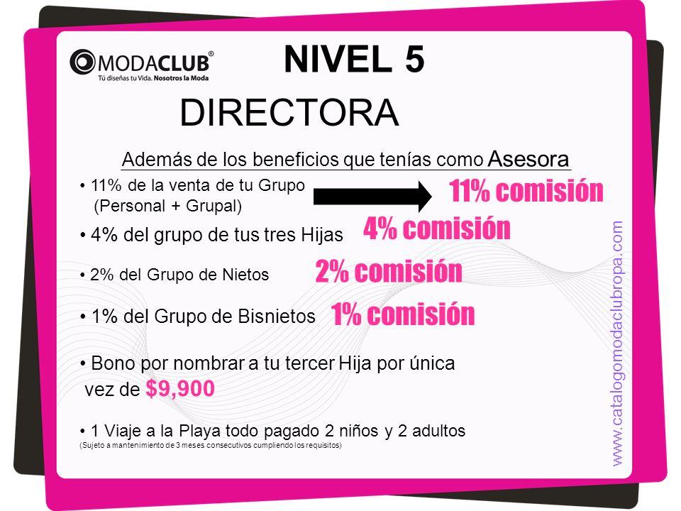 NIVEL 5 DIRECTORA Además de los beneficios que tenías como Asesora 11% de la venta de tu Grupo (Personal + Grupal) 4% del grupo de tus tres Hijas 11%