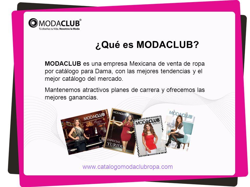 MODACLUB es una empresa Mexicana de venta de ropa por catálogo para Dama, con las mejores tendencias y el mejor catálogo del mercado. Mantenemos atrac
