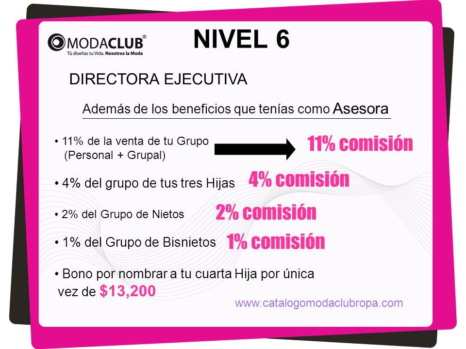 NIVEL 6 Además de los beneficios que tenías como Asesora 11% de la venta de tu Grupo (Personal + Grupal) 4% del grupo de tus tres Hijas 11% comisión 4