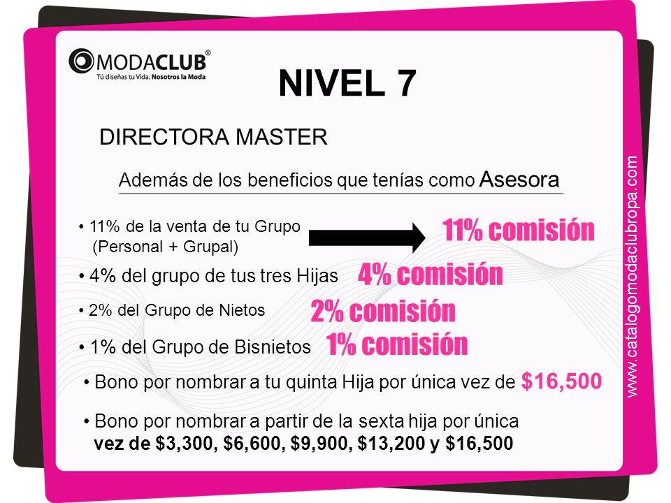 NIVEL 7 Además de los beneficios que tenías como Asesora 11% de la venta de tu Grupo (Personal + Grupal) 4% del grupo de tus tres Hijas 11% comisión 4