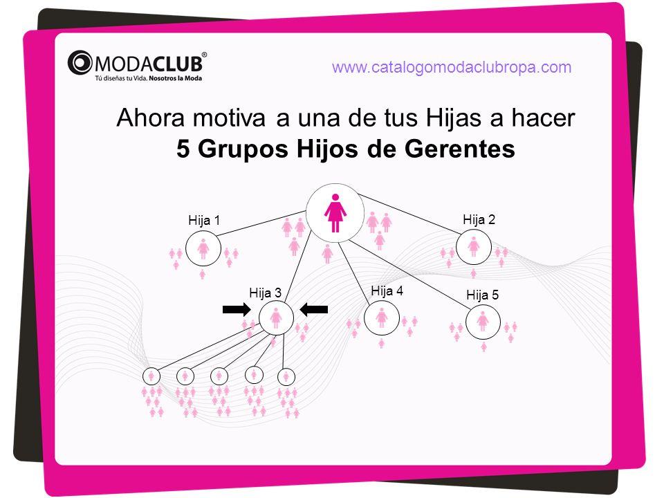 Ahora motiva a una de tus Hijas a hacer 5 Grupos Hijos de Gerentes Hija 1 Hija 2 Hija 3 Hija 5 Hija 4 www.catalogomodaclubropa.com