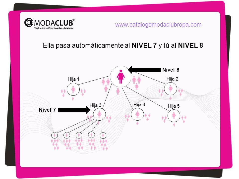 Hija 1 Hija 2 Hija 3 Hija 5 Hija 4 Ella pasa automáticamente al NIVEL 7 y tú al NIVEL 8 Nivel 7 Nivel 8 www.catalogomodaclubropa.com