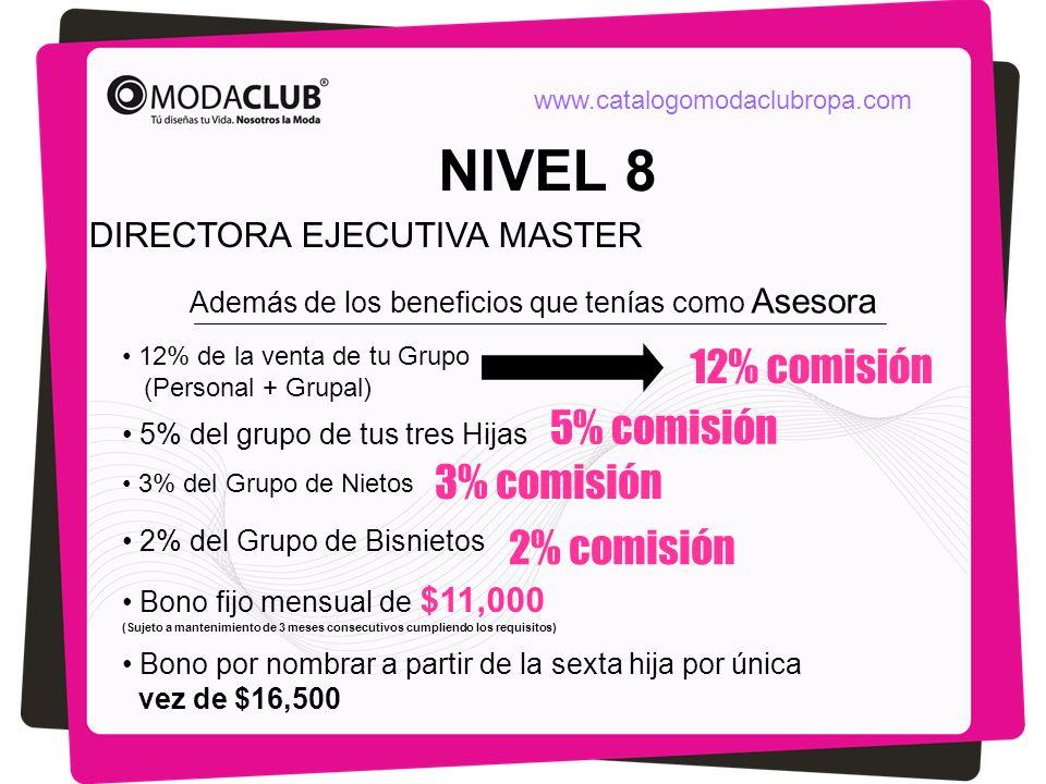 NIVEL 8 DIRECTORA EJECUTIVA MASTER Además de los beneficios que tenías como Asesora 12% de la venta de tu Grupo (Personal + Grupal) 5% del grupo de tu