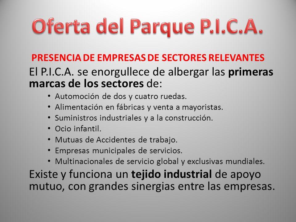 PRESENCIA DE EMPRESAS DE SECTORES RELEVANTES El P.I.C.A. se enorgullece de albergar las primeras marcas de los sectores de: Automoción de dos y cuatro