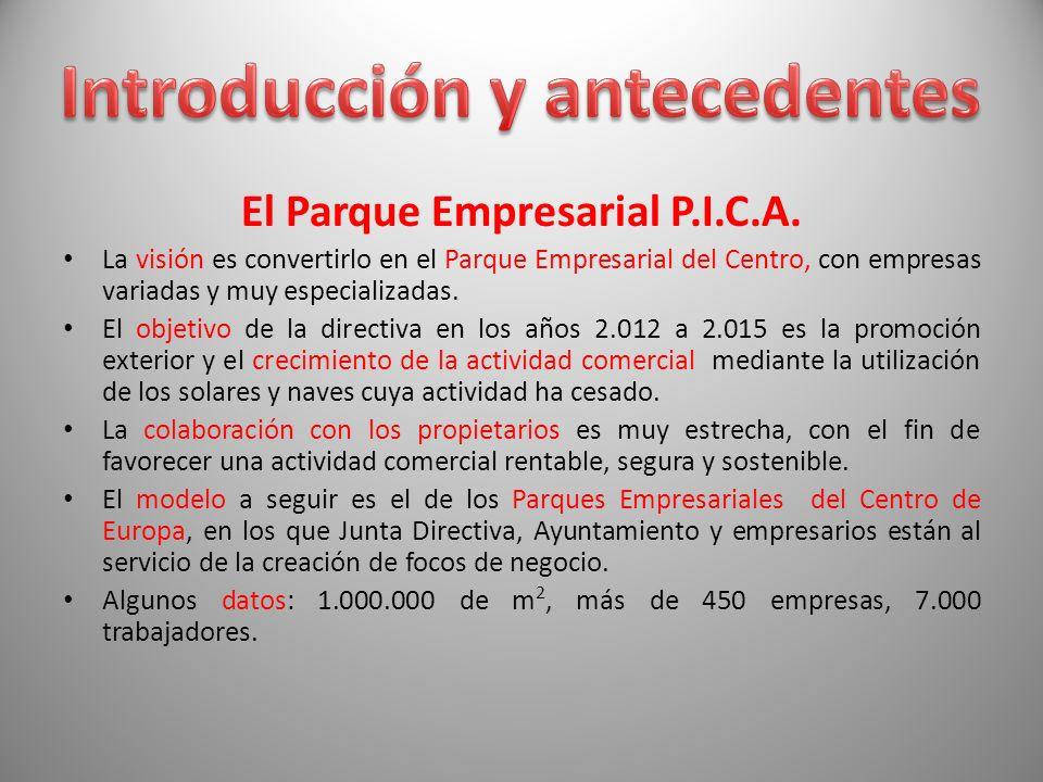 El Parque Empresarial P.I.C.A. La visión es convertirlo en el Parque Empresarial del Centro, con empresas variadas y muy especializadas. El objetivo d