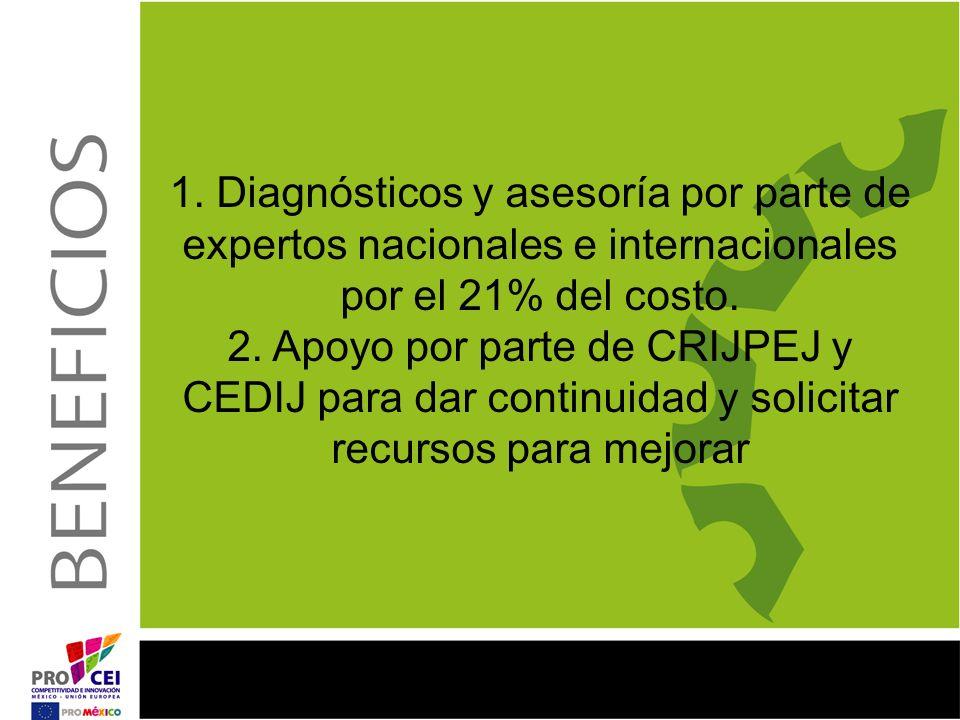 1. Diagnósticos y asesoría por parte de expertos nacionales e internacionales por el 21% del costo. 2. Apoyo por parte de CRIJPEJ y CEDIJ para dar con