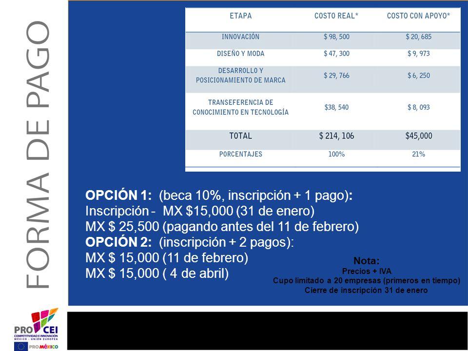 OPCIÓN 1: (beca 10%, inscripción + 1 pago): Inscripción - MX $15,000 (31 de enero) MX $ 25,500 (pagando antes del 11 de febrero) OPCIÓN 2: (inscripció