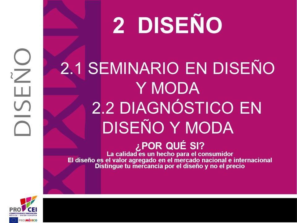 2 DISEÑO 2.1 SEMINARIO EN DISEÑO Y MODA 2.2 DIAGNÓSTICO EN DISEÑO Y MODA ¿POR QUÉ SI? La calidad es un hecho para el consumidor El diseño es el valor