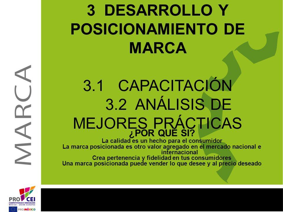 3 DESARROLLO Y POSICIONAMIENTO DE MARCA 3.1 CAPACITACIÓN 3.2 ANÁLISIS DE MEJORES PRÁCTICAS ¿POR QUÉ SI? La calidad es un hecho para el consumidor La m