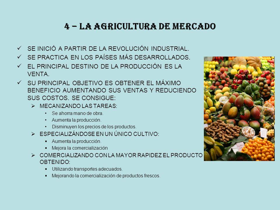 4 – la agricultura de mercado SE INICIÓ A PARTIR DE LA REVOLUCIÓN INDUSTRIAL.