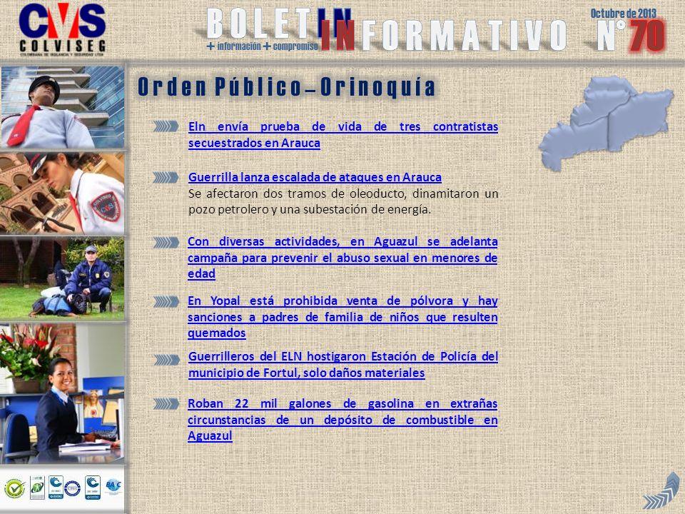 Octubre de 2013 + información + compromiso Eln envía prueba de vida de tres contratistas secuestrados en Arauca Guerrilla lanza escalada de ataques en Arauca Se afectaron dos tramos de oleoducto, dinamitaron un pozo petrolero y una subestación de energía.