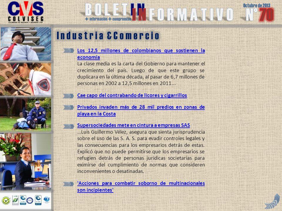 Octubre de 2013 + información + compromiso Los 12,5 millones de colombianos que sostienen la economía La clase media es la carta del Gobierno para mantener el crecimiento del país.
