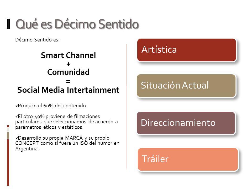 Qué es Décimo Sentido Décimo Sentido es: Smart Channel + Comunidad = Social Media Intertainment Produce el 60% del contenido.