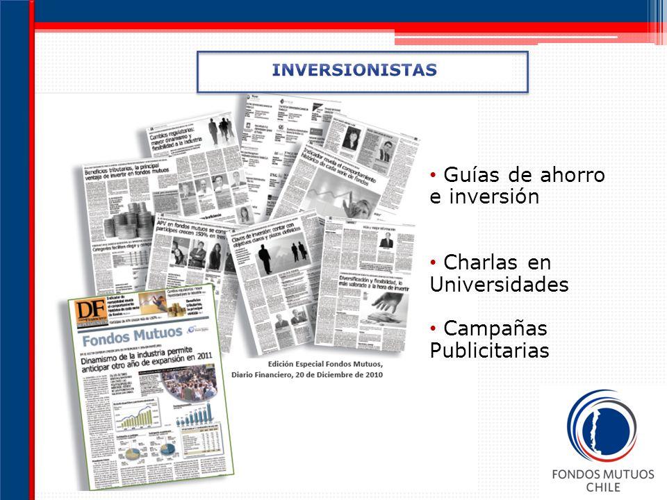 Guías de ahorro e inversión Charlas en Universidades Campañas Publicitarias