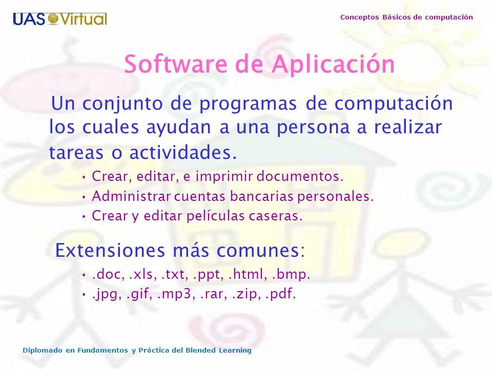 Conceptos Básicos de computación Diplomado en Fundamentos y Práctica del Blended Learning Software de Aplicación Un conjunto de programas de computaci