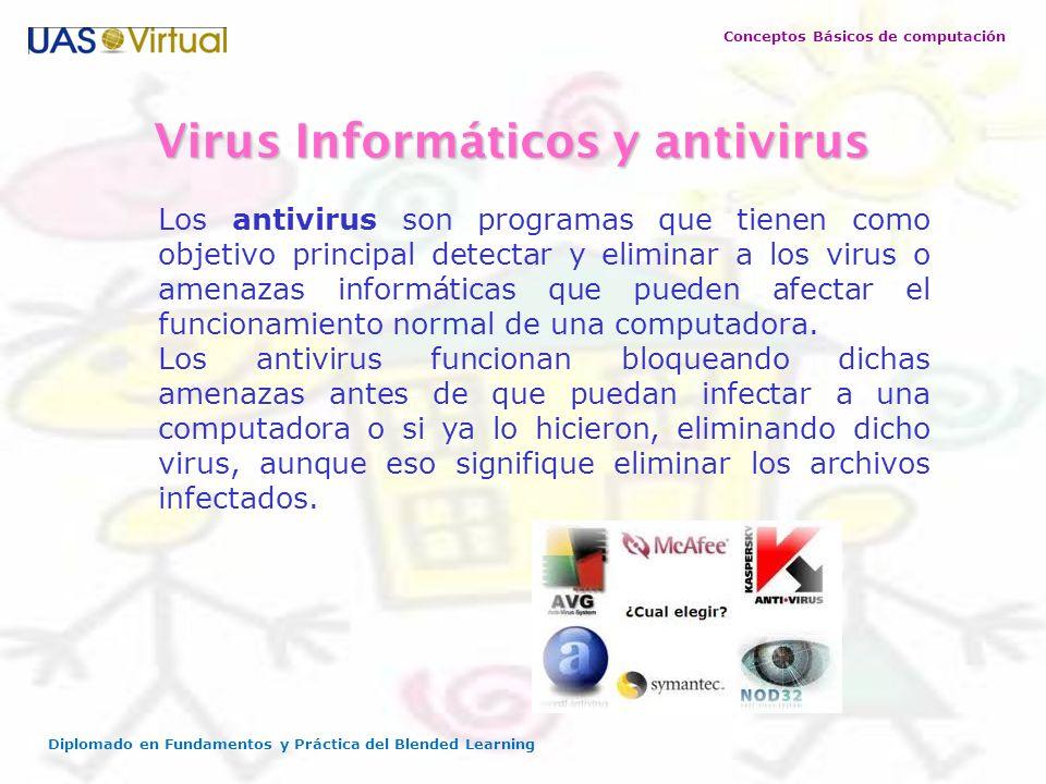 Conceptos Básicos de computación Diplomado en Fundamentos y Práctica del Blended Learning Virus Informáticos y antivirus Los antivirus son programas q