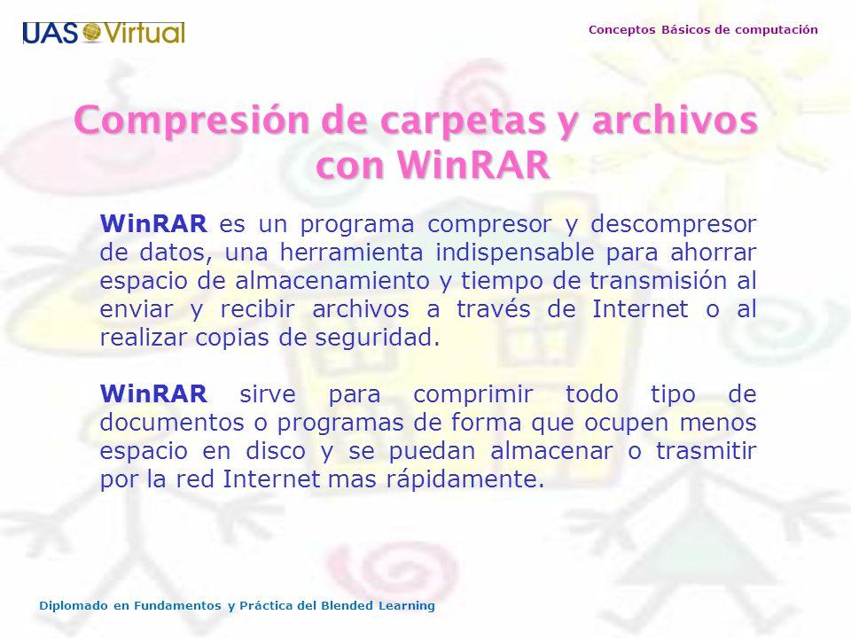 Conceptos Básicos de computación Diplomado en Fundamentos y Práctica del Blended Learning Compresión de carpetas y archivos con WinRAR WinRAR es un pr