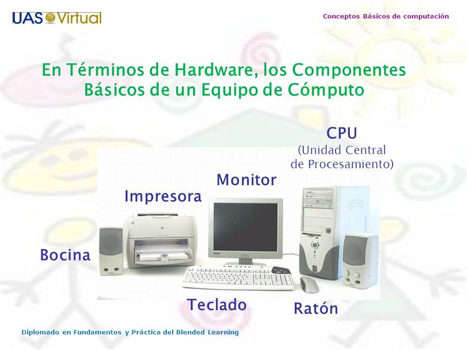 Conceptos Básicos de computación Diplomado en Fundamentos y Práctica del Blended Learning En Términos de Hardware, los Componentes Básicos de un Equip