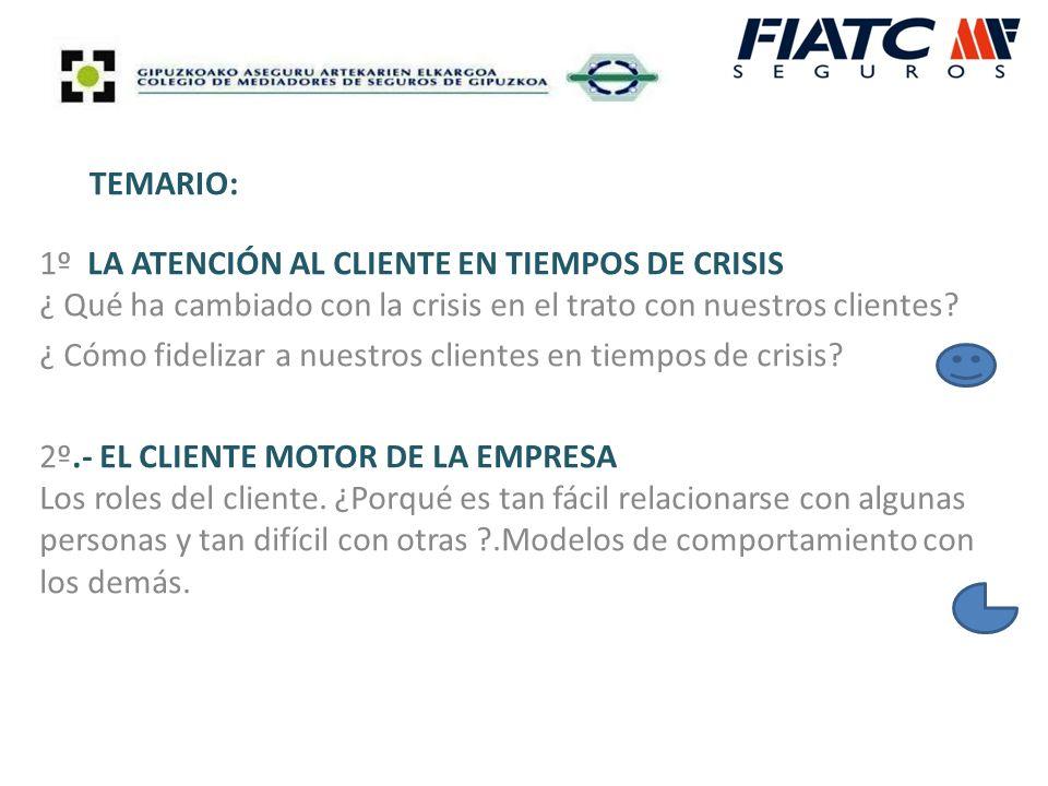 TEMARIO: 1º LA ATENCIÓN AL CLIENTE EN TIEMPOS DE CRISIS ¿ Qué ha cambiado con la crisis en el trato con nuestros clientes.