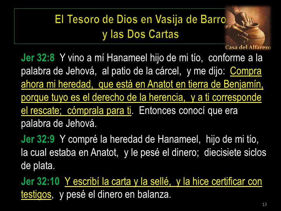 13 Jer 32:8 Y vino a mí Hanameel hijo de mi tío, conforme a la palabra de Jehová, al patio de la cárcel, y me dijo: Compra ahora mi heredad, que está