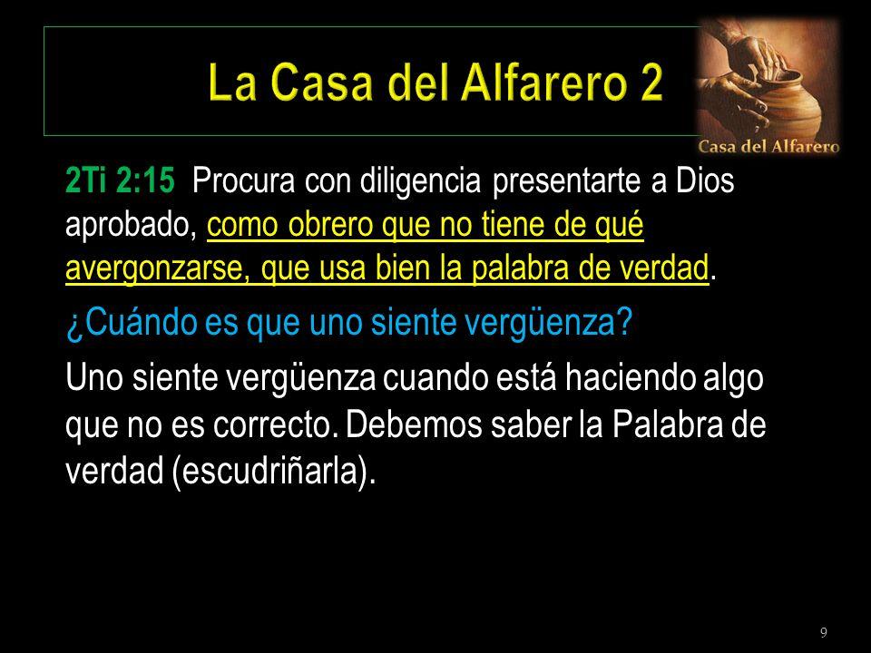9 2Ti 2:15 Procura con diligencia presentarte a Dios aprobado, como obrero que no tiene de qué avergonzarse, que usa bien la palabra de verdad. ¿Cuánd