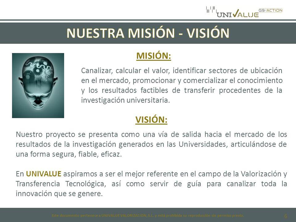 6 MISIÓN: Canalizar, calcular el valor, identificar sectores de ubicación en el mercado, promocionar y comercializar el conocimiento y los resultados factibles de transferir procedentes de la investigación universitaria.