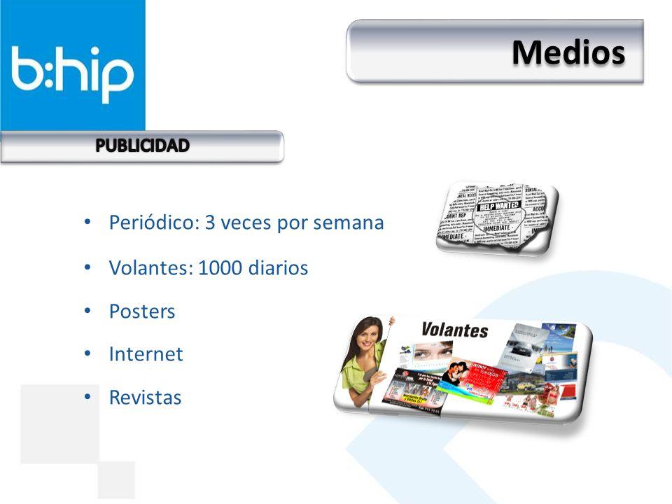 Periódico: 3 veces por semana Volantes: 1000 diarios Posters Internet Revistas Medios