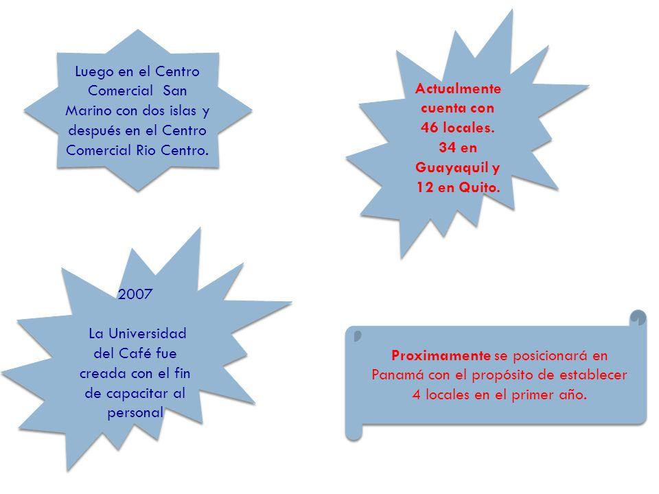 Proximamente se posicionará en Panamá con el propósito de establecer 4 locales en el primer año. 2007 La Universidad del Café fue creada con el fin de