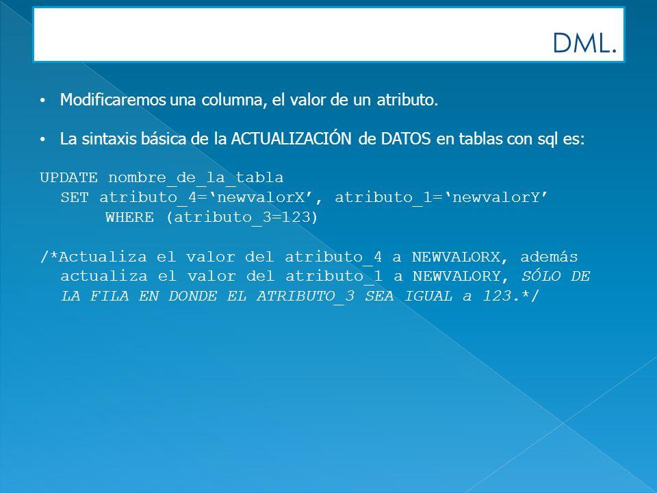 DML. Modificaremos una columna, el valor de un atributo. La sintaxis básica de la ACTUALIZACIÓN de DATOS en tablas con sql es: UPDATE nombre_de_la_tab